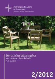 Gebetskalender April 2012 - Deutsche Evangelische Allianz