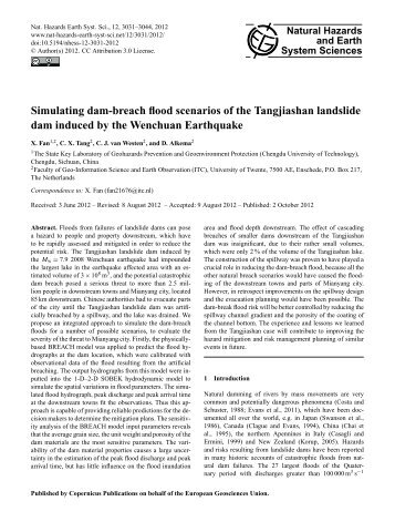 Simulating dam-breach flood scenarios of the Tangjiashan landslide ...