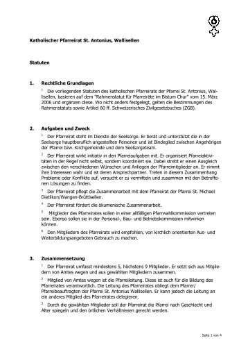 Katholischer Pfarreirat St. Antonius, Wallisellen Statuten 1 ...