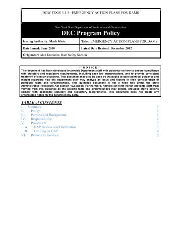 Federal Guidelines For Dam Safety: Emergency Action Planning For