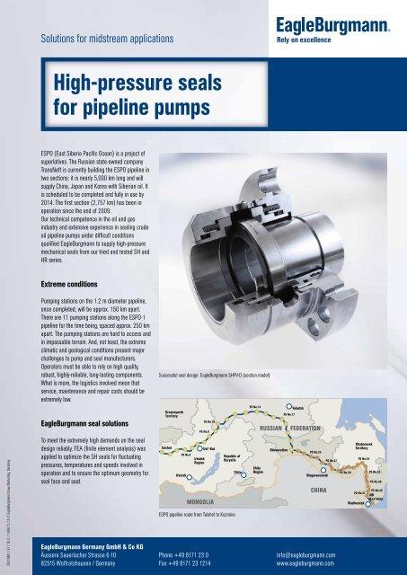 High-pressure seals for pipeline pumps - EagleBurgmann