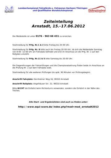 Zeiteinteilung Arnstadt, 15.-17.06.2012 - Equi Score