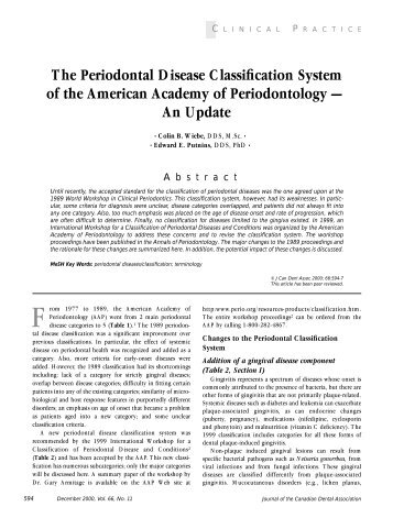 The Periodontal Disease Classification System Of The - Canadian ...