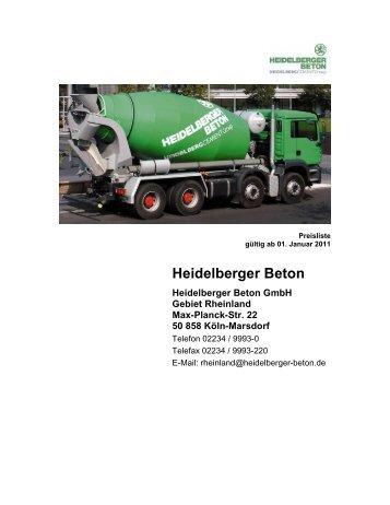 Preisliste 2011 HD-Beton Rheinland - HeidelbergCement