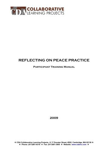 Reflecting on Peace Practice - CDA Collaborative Learning Projects