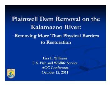 Plainwell Dam Removal on the Kalamazoo River: Kalamazoo River: