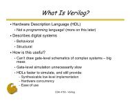 Hardware Description Language (HDL) Describes digital systems ...