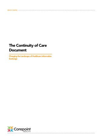 Continuity of Care Document white paper (PDF) - Corepoint Health