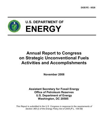 2008 Annual Report to Congress - Strategic Unconventional Fuels ...