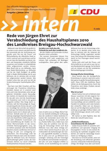 CDUintern - Ausgabe 1, Januar 2010 - Kreisverband Breisgau ...