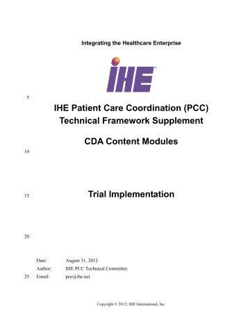 (PCC) Technical Framework Supplement CDA Content ... - IHE