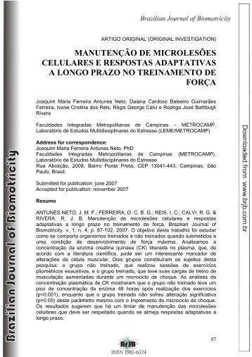 manutenção de microlesões celulares e respostas adaptativas
