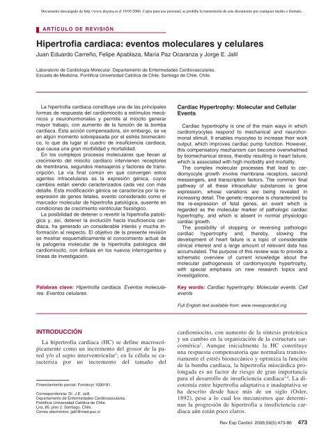 Hipertrofia cardiaca: eventos moleculares y celulares