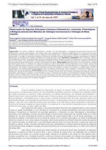 Observação de Algumas Alterações Celulares Inflamatórias ...