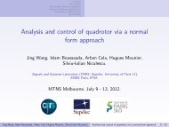 Analysis and control of quadrotor via a normal form ... - MTNS 2012