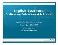English Learners: - Colorado Department of Education