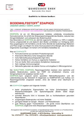 Bodenhilfsstoff Edaphos - Quarzsande GmbH