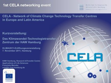 1st CELA networking event - CLIMATE 2011 / KLIMA 2011