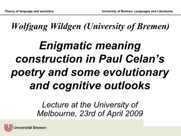 Wolfgang Wildgen (Universität Bremen) Minimal syntax: comparison ...