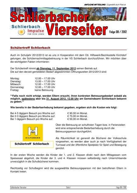 Stellenangebote - Gemeinde Schlierbach