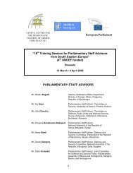 "European Parliament ""16th Training Session for ... - DCAF"