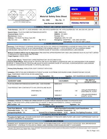 Material Safety Data Sheet - Advanced Minerals Corporation