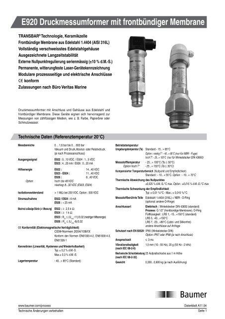 E920 Druckmessumformer mit frontbündiger Membrane - Baumer
