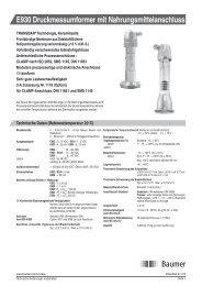 E930 Druckmessumformer mit Nahrungsmittelanschluss - Baumer