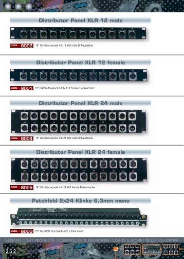 Distributor Panel XLR 12 male Distributor Panel XLR 12 female ...
