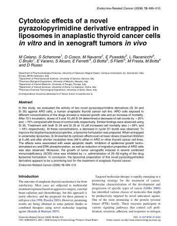 Cytotoxic effects of a novel pyrazolopyrimidine derivative entrapped ...