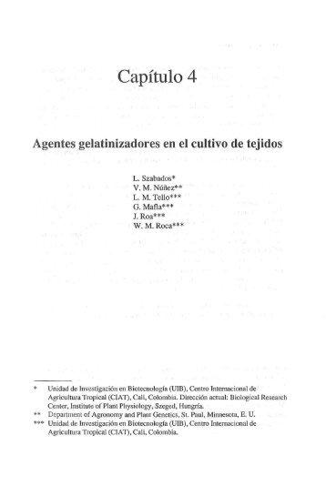 Agentes gelatinizadores en el cultivo de tejidos