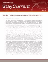 Recent Developments: Chevron-Ecuador Dispute - Paul Hastings