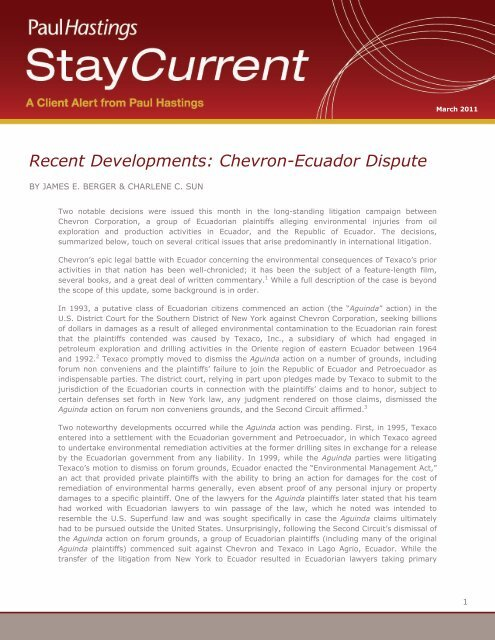 Recent Developments: Chevron-Ecuador Dispute - Paul Hastings
