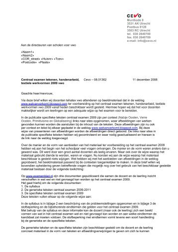 Brief van de CEVO (kenmerk 08.01362) - Examenblad.nl