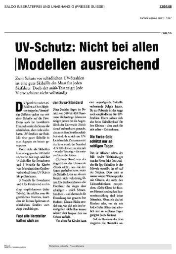 UV-Schutz: Nicht bel allen Modellen ausreichend