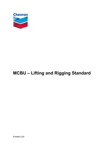 MCBU – Lifting and Rigging Standard - Chevron - Upstream ...