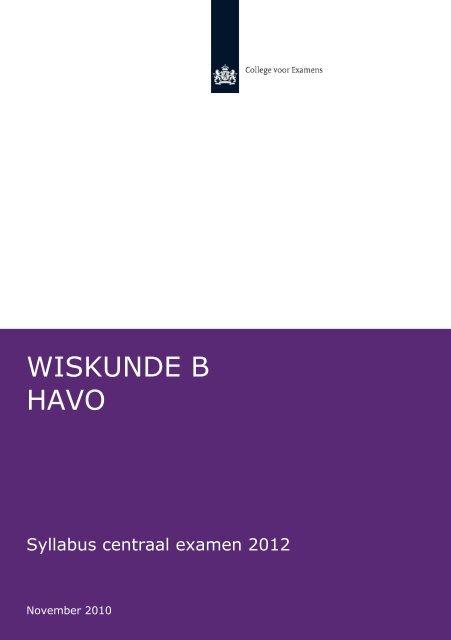 Syllabus Wiskunde B havo