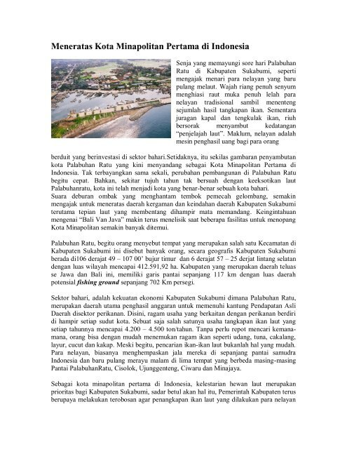 Meneratas Kota Minapolitan Pertama Di Indonesia Bulletin