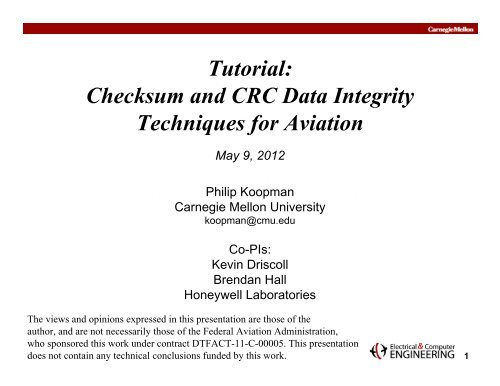 Tutorial: Checksum and CRC Data Integrity Techniques for