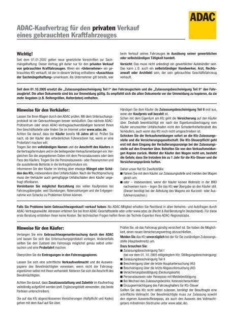Adac Kfz Kaufvertrag Als Pdf Kfz Checkcom