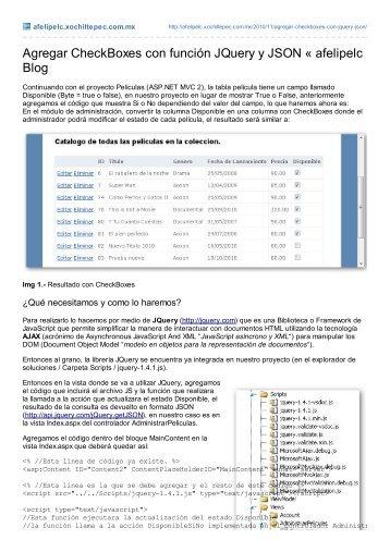 Agregar CheckBoxes con función JQuery y JSON « afelipelc Blog