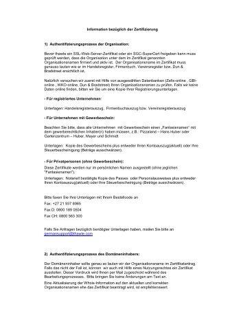 Informationen zur SSL-Zertifizierung