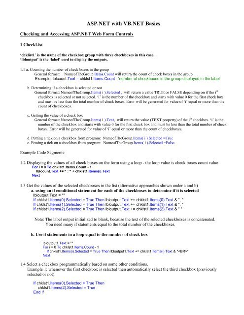 ASP NET with VB NET Basics - Krypton