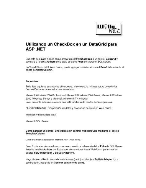 Utilizando un CheckBox en un DataGrid para ASP  NET - Willy  Net