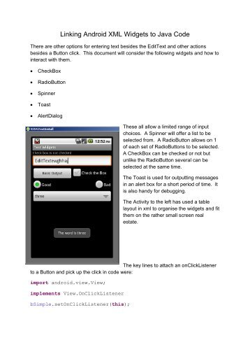 Linking Android XML Widgets to Java Code - Grayde Bowen