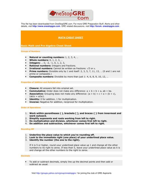 Rational numbers - Cheat Sheet