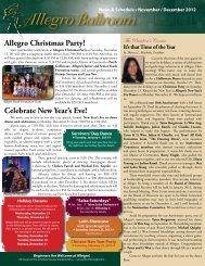 November/December 2012 Newsletter - Allegro Ballroom