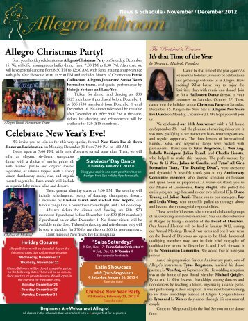 November/December 2012 Newsletter - Allegro Ballroom
