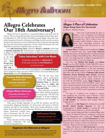 Allegro Celebrates Our 18th Anniversary! - Allegro Ballroom