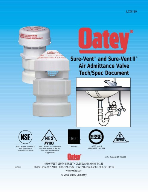 Sure-Vent® and Sure-Vent II® Air Admittance Valve